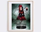 Vampire Art Print - Bat Print - Gothic Wall Decor - A Prisoner In My Own Body