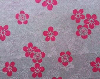 "KOFU - fabric from used Kimono, Silk, Gray/Magenta, Flower 11 3/4"" (30cm) X 39 3/8"" (100cm)"