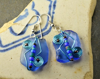 Unusual cornflower blue Maine sea/beach glass earrings with colorful wire work and beads unique one of a kind funky fun style