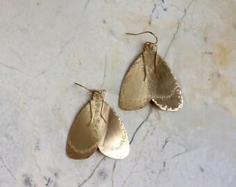 Moth Earrings. Gold Moth Earrings.  Statement Earrings. Insect Earrings. Gold Filled. Large Metal Earrings. Wings. Wing Earrings. Unique.