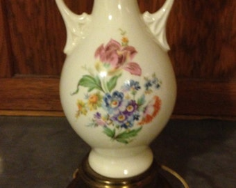 Antique Ceramic Table Lamp With Mixed Floral Bouquet