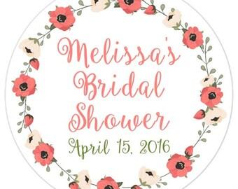 60 Wedding Shower Stickers, Floral Bridal Shower Labels, Stickers, 2.5 inch round, Wedding Shower, Bridal Shower Favor, Coral Floral