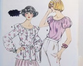 Kwik Sew Misses' Peasant Blouse Sewing Pattern 889,  Ruffled Belted Poet's Blouse, Full Sleeves, Retro Fashion Top Size 12 - 16 UNCUT