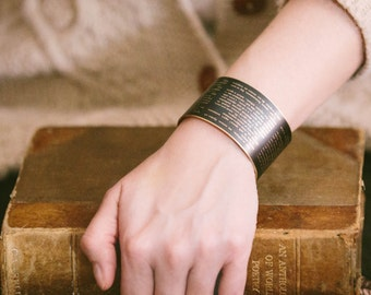 Dostoevsky Russian Literature - Crime and Punishment - Brass Cuff Bracelet - Book Gift