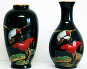 Otagiri Bud Vases - Sold as a Pair or Separately, Small Black Vintage Vase, Hummingbird with Red Hibiscus Design, Gibson Greeting Cards, Inc