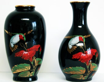 Otagiri Bud Vase - Only One Available, Small Black Vintage Vase, Hummingbird with Red Hibiscus Design, Gibson Greeting Cards, Inc