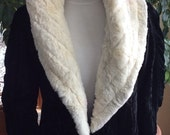 Vintage Victorian black velvet coat with rabbit fur collar