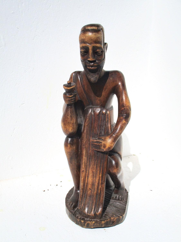 Vintage african man wood carving sculpture hand carved tribal