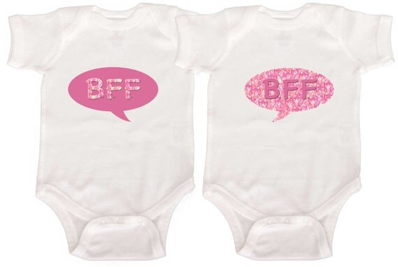 Funny Twin Girl Bodysuits by Mumsy Goose  Newborn Twin Rompers to Girly Tshirts