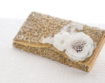 Gold Wedding clutch, Bridal beaded vintage clutch purse with ivory flowers, wedding purse, gold sequins bag, formal clutch,