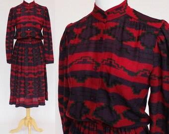 70's / 80's Shirtwaist Dress / Nipon Boutique / Southwestern Print / Elastic Waist / Small