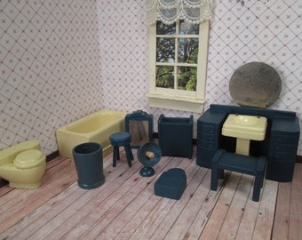 Vintage Miniature Dollhouse - Complete 11 Piece Bathroom Furniture by Strombecker - 3/4 Scale
