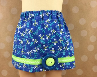 Made For American Girl 18 Inch Doll Clothes Twill Skirt With Dragonflies cobalt Blue and Neon Green Trim Girls Toy