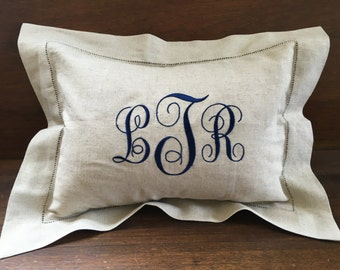 Monogrammed Linen Hemstitched Pillow