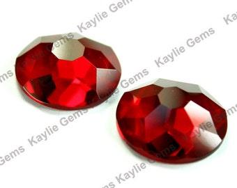25mm Round Glass Jewel Stone Flat Back Snow Flake Cut 1 piece - Ruby