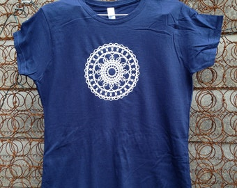 Mandala screen printed ladies t shirt dark blue