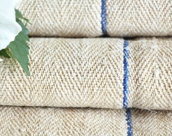 R 314 antique hemp SKY BLUE upholstery 4.91 yards handloomed STAIRUNNER benchcushion 캔버스 자루 Beachhouse look