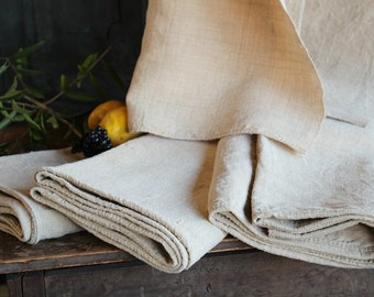Nr. A342-345: SET of LINEN SHEETS;  antique hemp linen;  handloomed; natural;  upholstering; curtains;  cushion cover; tablecloth runner