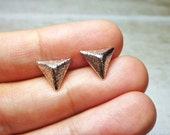 SALE - Textured Pyramid Stud Earrings - Silver