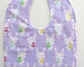 Ready To Ship - Easter Reversible Baby Bib - Bunnies Baby Bib - Lavender Easter Toddler Bib