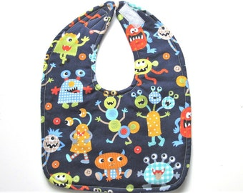 Cute Monsters Baby Bib - Silly Monsters Baby Bib - Baby Boy Monster Bib - Ready To Ship