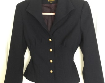 Vintage Georgiou Studio wool coat size 6P black wool, brass buttons, fully lined, tons of pleats, tie back