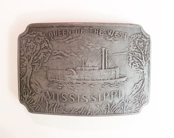 Vintage Queen Of The West Mississippi Belt Buckle riverboat paddleboat steam boat