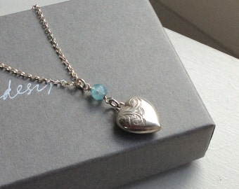 Vintage silver heart necklace with birthstone