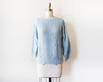 baby blue pointelle sweater, vintage 80s blue sweater, medium fuzzy eyelet sweater