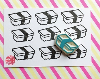 sushi stamp. japanese food hand carved rubber stamp. birthday new year crafts. sushi party props. holiday scrapbooking. diy gift wraps. no1