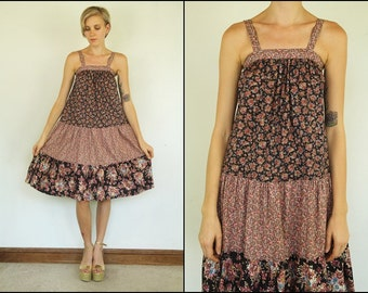 Vintage 70's Floral Calico Tiered Boho A line Preppy Dolly Mini dress XXS