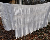 Vintage Hand Crocheted And Embroidered Bedspread/Vintage C. 1940s 1950s/White On White Coverlet/Double Queen Size