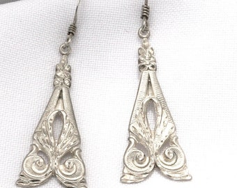 Vintage Sterling Silver Earrings - Very Lightweight and Sparkly