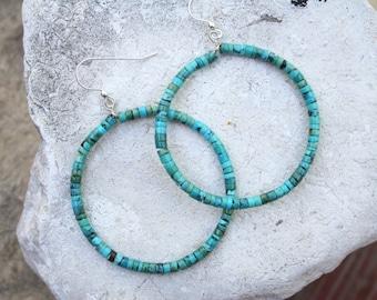 Turquoise Hoop Earrings Natural Turquoise Earrings