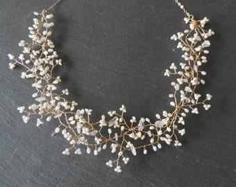 Gold Bib Necklace Gypsophila Princess - Gold Filled