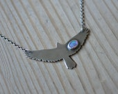 xX CUSTOM ORDER Xx Opal Bird Necklace in Oxidised Sterling Silver - The Ascend Necklace