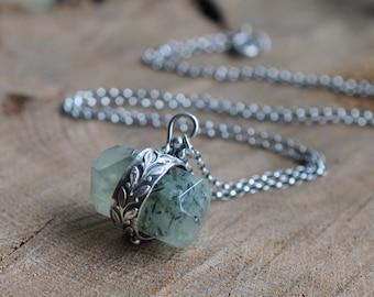 Sterling Prehnite Necklace, Metalwork Pinned Crystal, Oxidised Gemstone Pendant - Wrapped Rock in  Green Elm