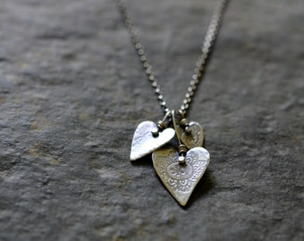 Sterling Floral Heart Necklace, Oxidised, Sterling Silver Gemstone Charm Necklace - Gypsy Rose Hearts Trio