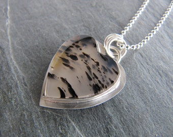 Necklace of Montana Agate Heart in Sterling Silver