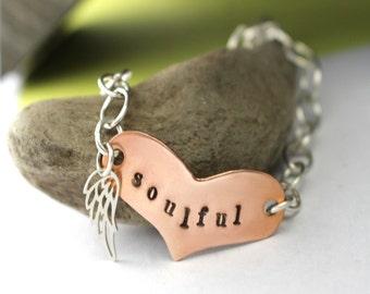 Heart Bracelet, Charm Bracele,t Soulful Bracelet, Sterling Silver Bracelet, Angel Wing Bracelet, Copper Heart Bracelet, Silver Bracelet