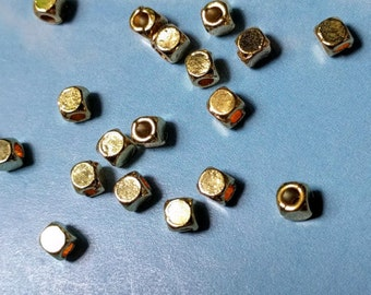 100 very tiny rounded cube beads, gold tone, 4mm