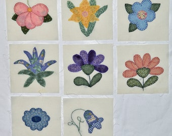 8 Appliqued & Embroidered Quilt Squares