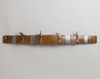 Large Pewter Duck Coatrack with Bands, Natural Finish