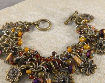 Brass Daisy Purple and Gold Charm Bracelet