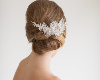 Lace Bridal Headpiece,  Crystal and lace Hair Comb, Wedding Hair Accessory