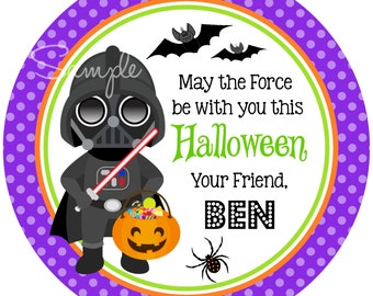 Halloween Star Wars, Darth Vader Halloween Tags, Printable Halloween Tags or Stickers,DIY, Digital file