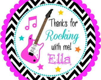 Rock Star Stickers, Guitar Stickers, Guitar Personalized Stickers or Tags, Rockstar  Birthday Party - Set of 12