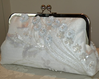 Bridal Clutch/Purse/Bag/Something Blue/Embroidered Sequin 3D Floral Pearls..Off White Silk..Long Island Bride/Wedding Gift/Cherry Blossom