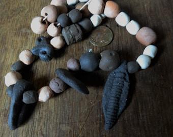 "Artisan ceramic beads and pendants - 16"" strand- SALE"