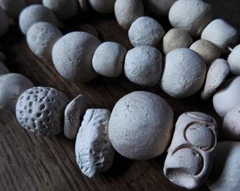 "Artisan ceramic beads - off white - 16"" strand - SALE"